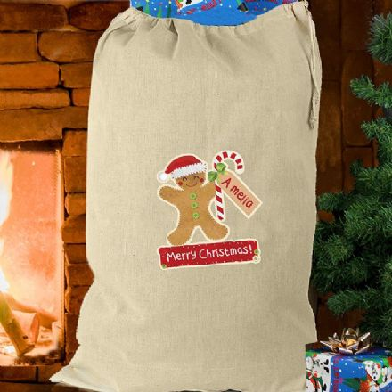 Gingerbread Man Personalised Christmas Sack